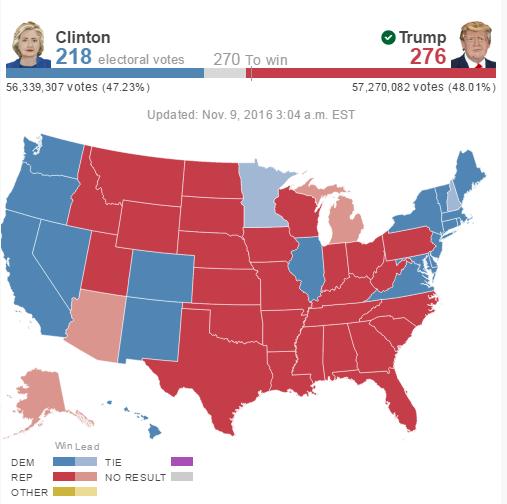 abd seçim 2016 harita