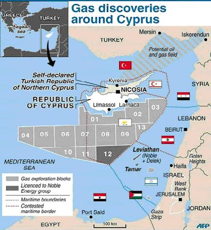 gas discoveries around cyprus