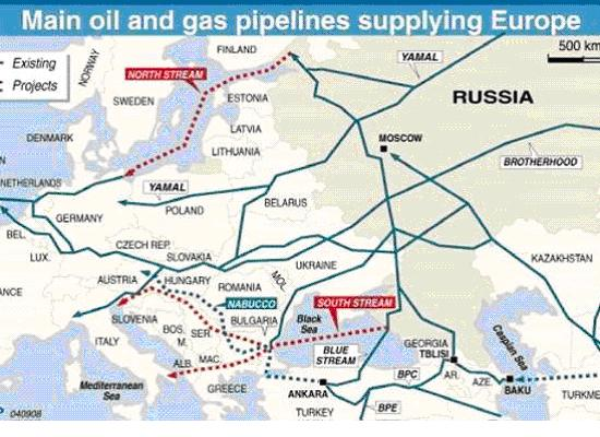 main oil and gas pipelines in europe