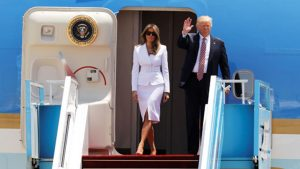 U.S. President Donald Trump and first lady Melania Trump arrive aboard Air Force One at Ben Gurion International Airport in Lod near Tel Aviv, Israel May 22, 2017. REUTERS/Amir Cohen