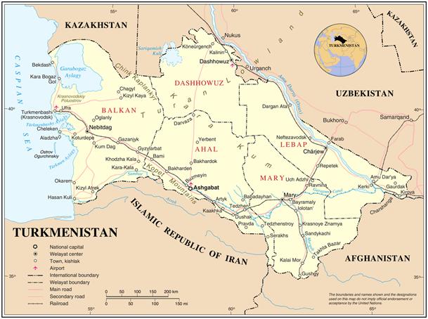turkmenistan harita